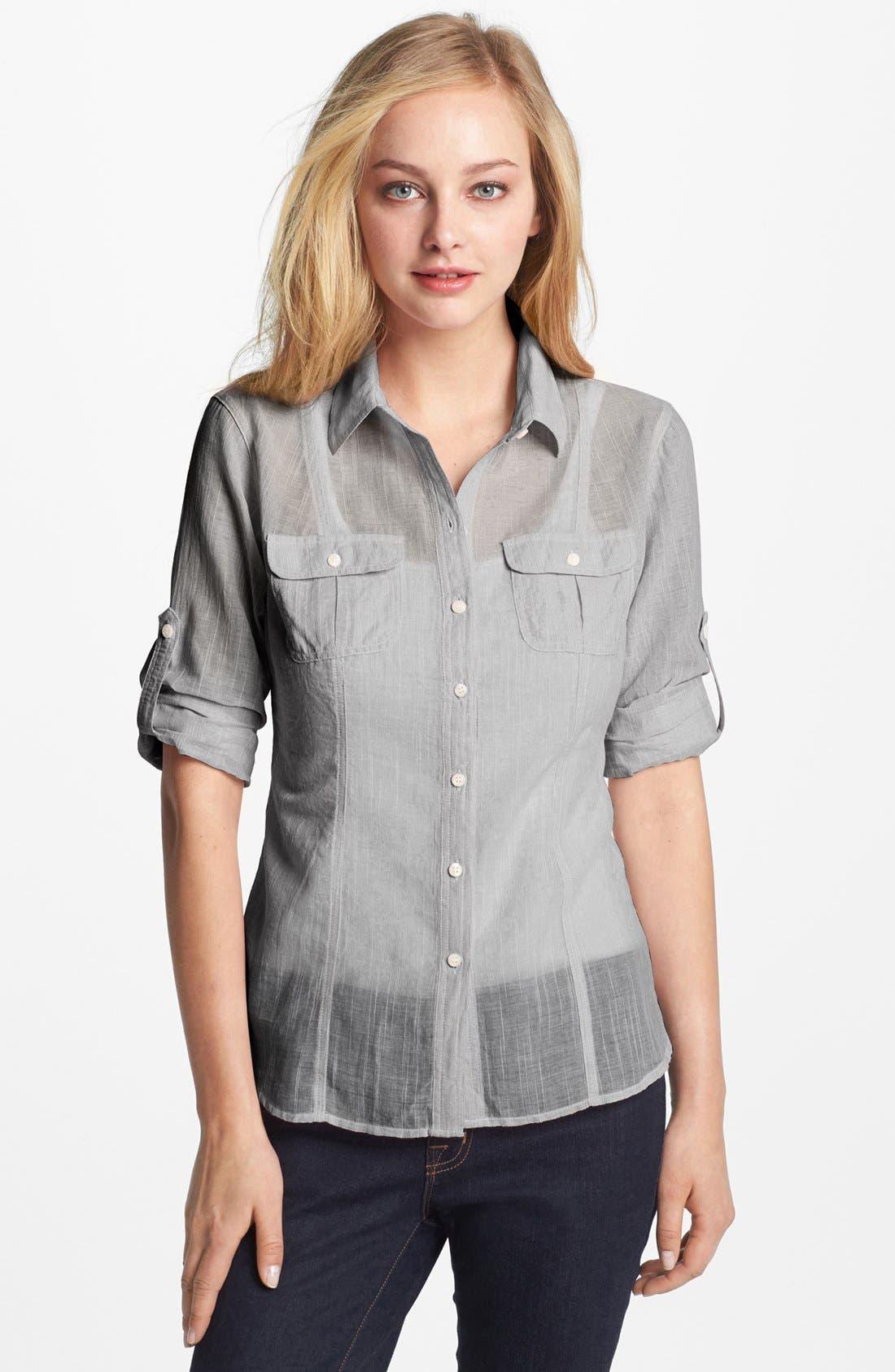 Alternate Image 1 Selected - Sandra Ingrish Roll Sleeve Shirt (Petite)