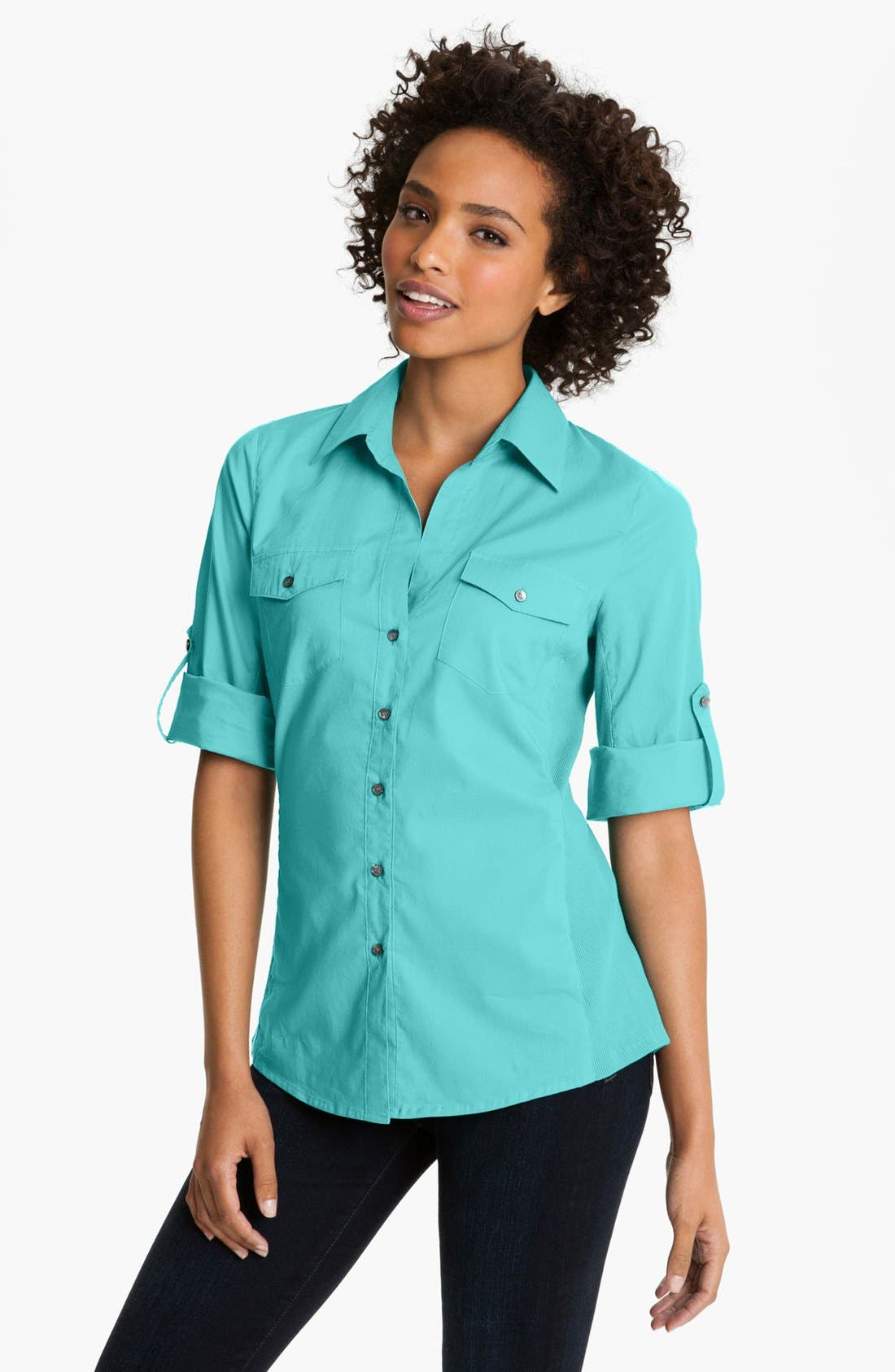 Alternate Image 1 Selected - Sandra Ingrish Roll Sleeve Shirt