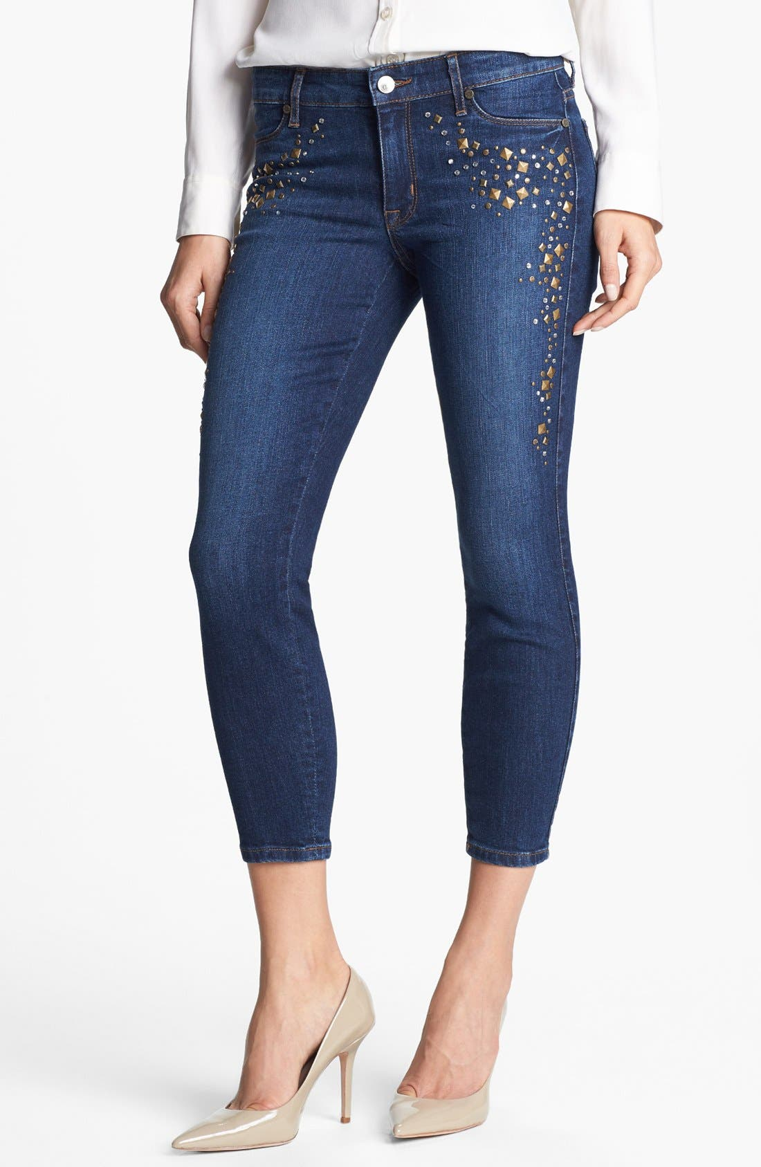 Main Image - CJ by Cookie Johnson 'Believe' Embellished Crop Stretch Jeans