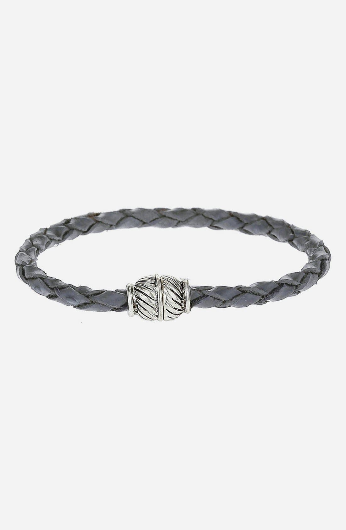 Main Image - Topman Braided Leather Strap Bracelet