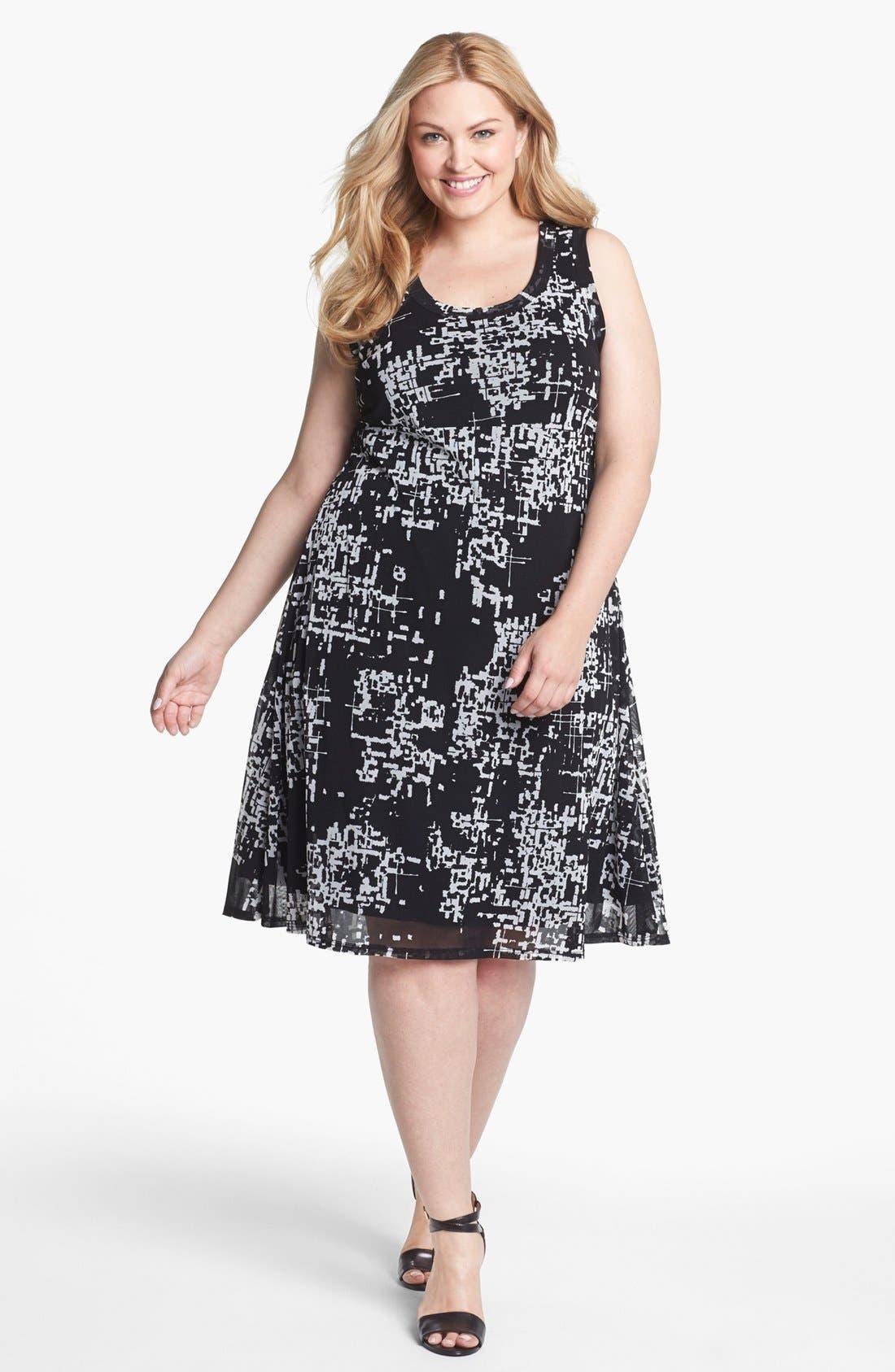 Main Image - Karen Kane Print Chiffon A-Line Dress (Plus Size)