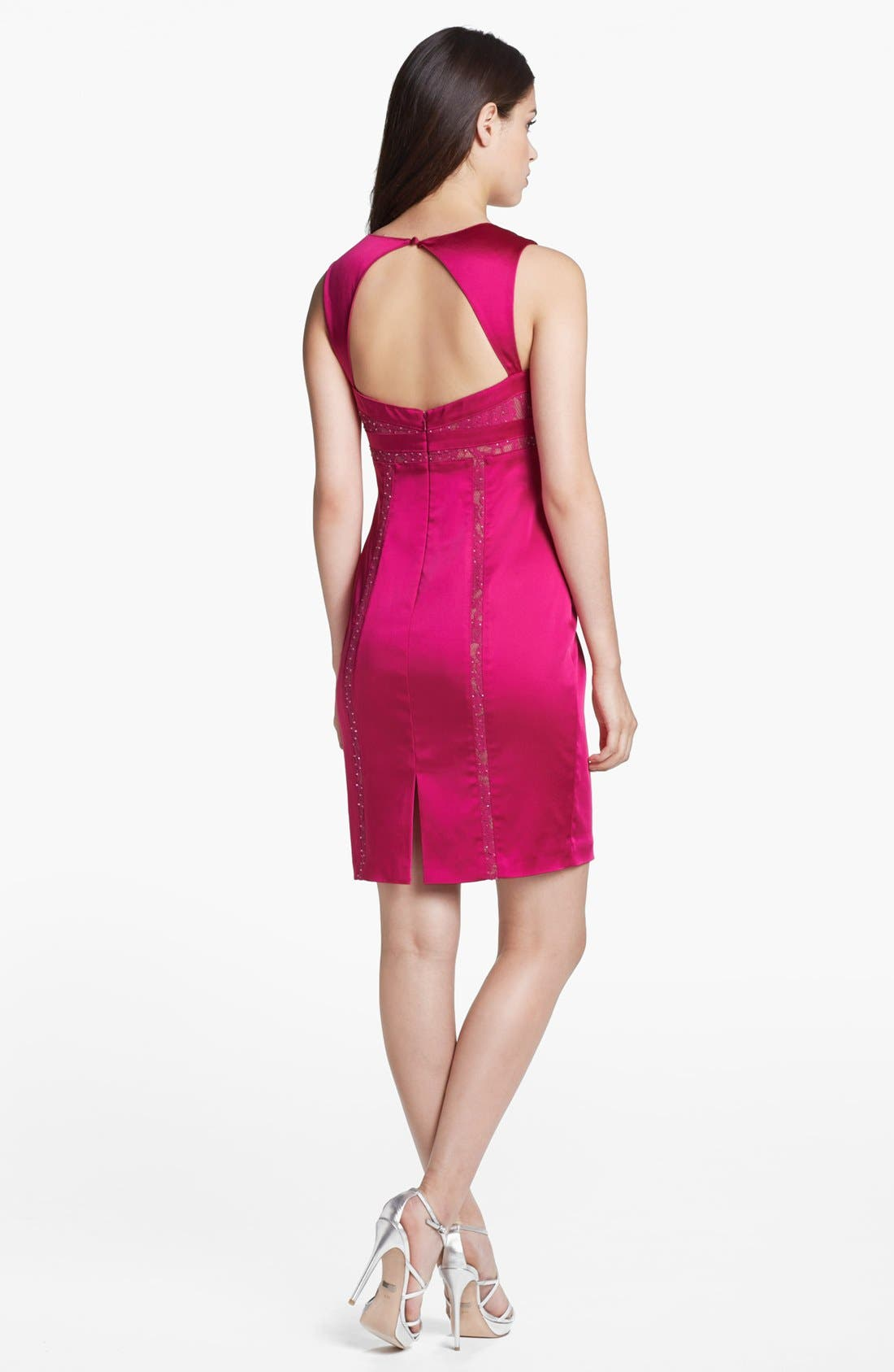 Alternate Image 2  - Aidan Mattox Lace Inset Satin Sheath Dress (Online Only)