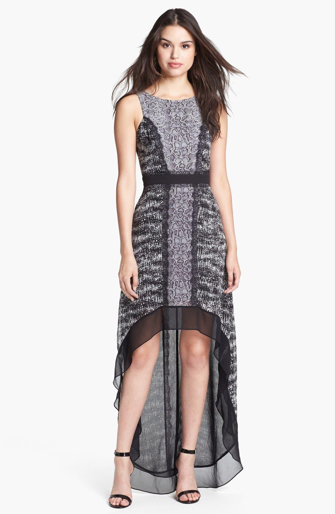 Main Image - BCBGMAXAZRIA Mixed Print High/Low Chiffon Dress