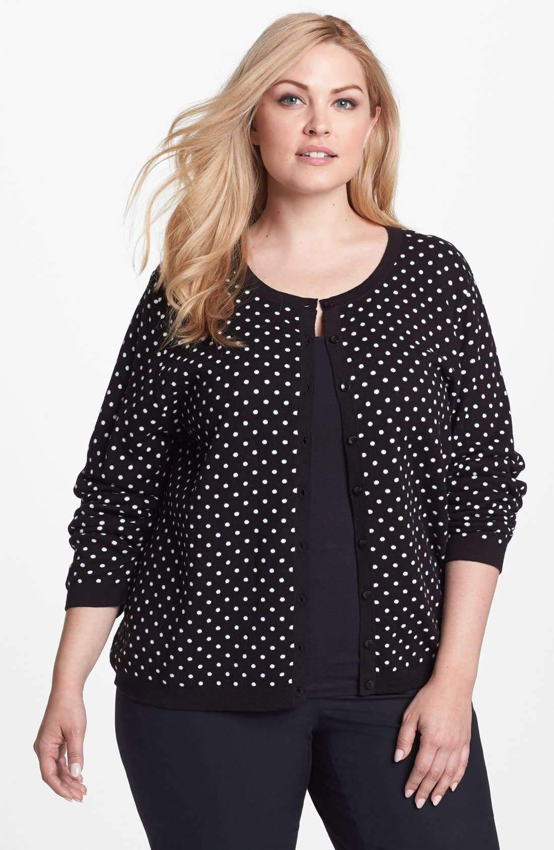 Alternate Image 1 Selected - Foxcroft Polka Dot Cardigan (Plus Size) (Online Only)