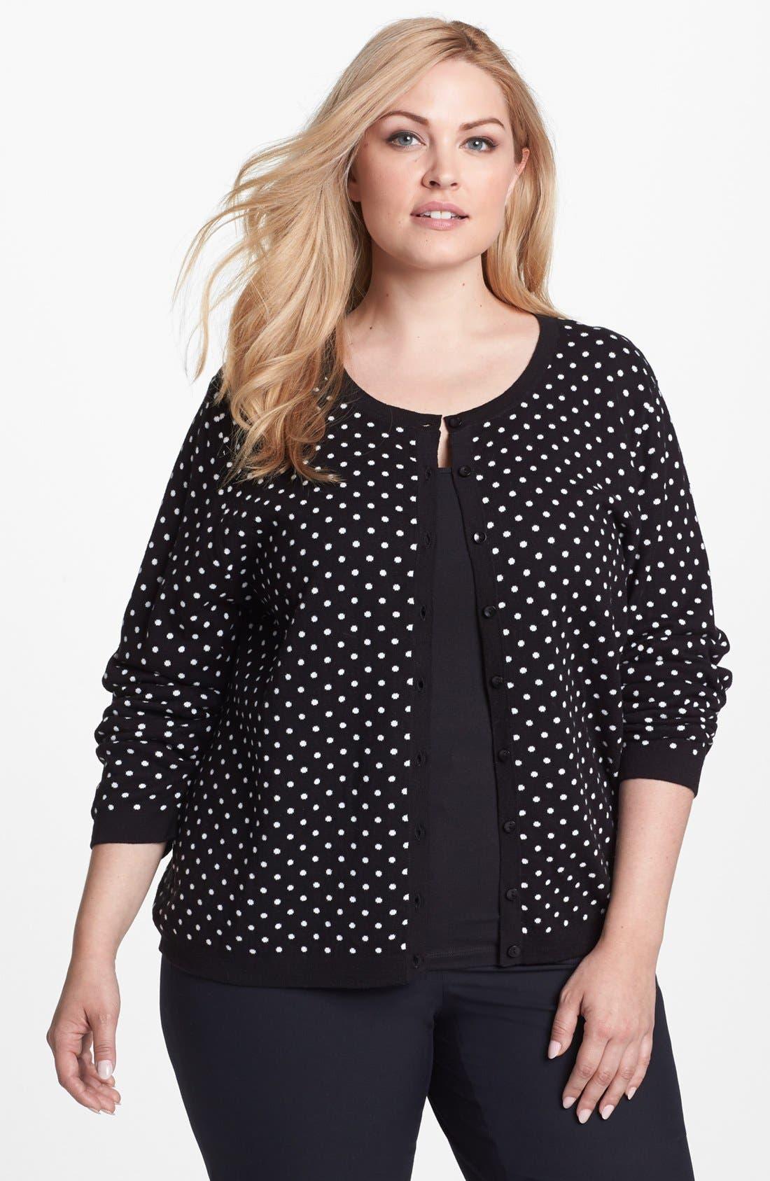 Main Image - Foxcroft Polka Dot Cardigan (Plus Size) (Online Only)
