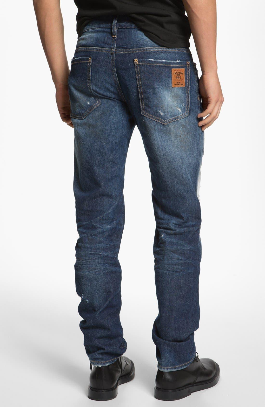 Alternate Image 2  - Dsquared2 'Dean' Narrow Straight Leg Jeans (Blue)