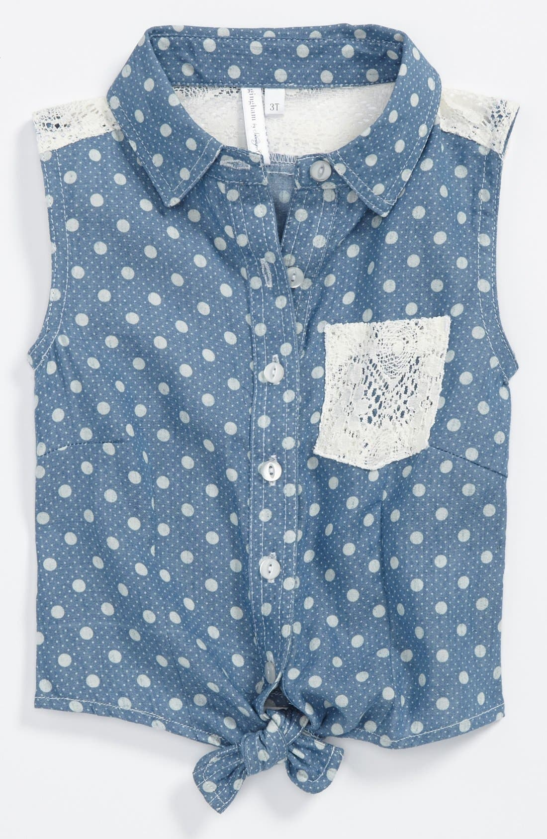 Alternate Image 1 Selected - gingham by Sovereign Code 'Lacey' Denim Top (Toddler Girls)