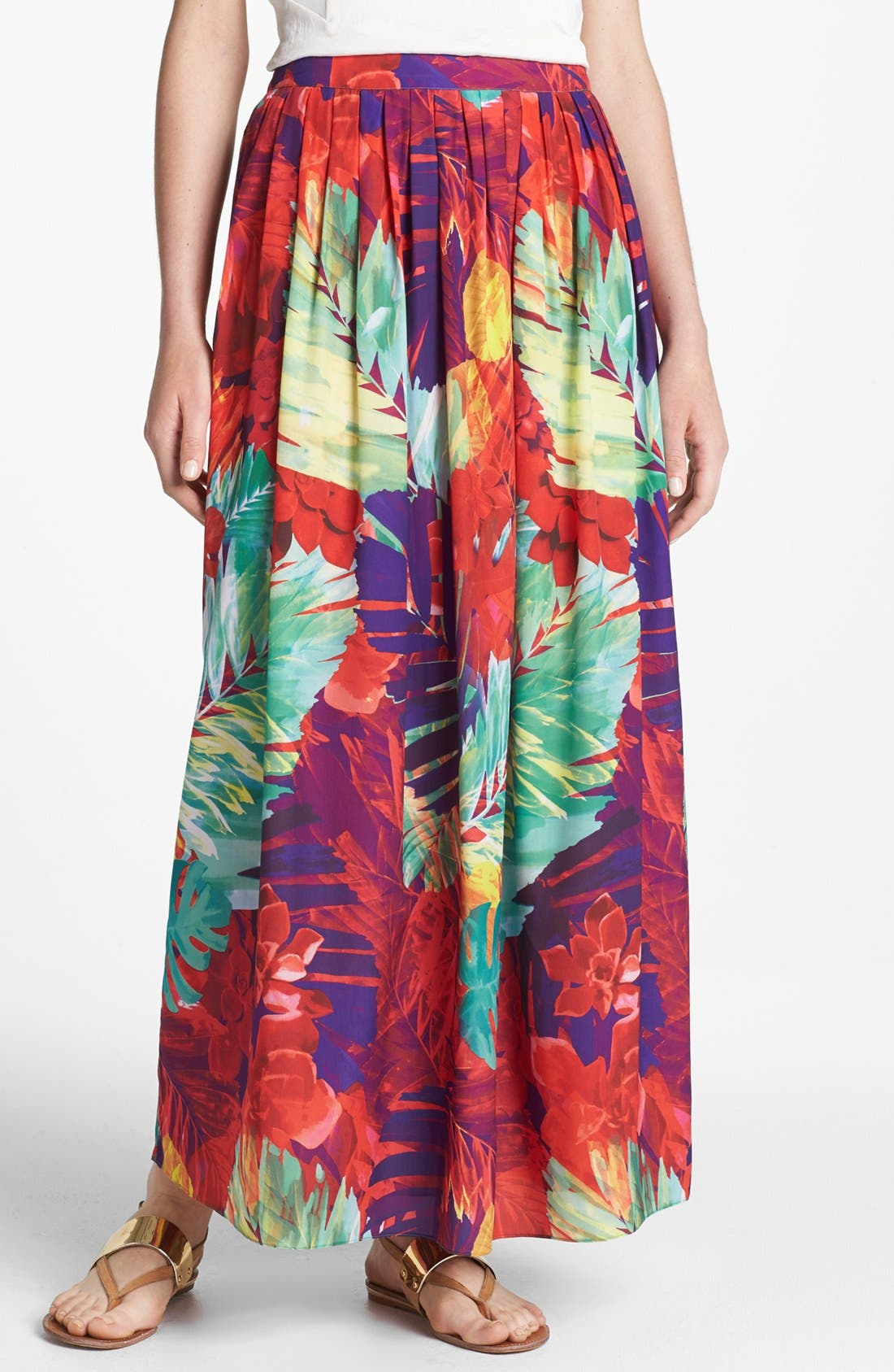 Alternate Image 1 Selected - Vince Camuto Gathered Print Maxi Skirt