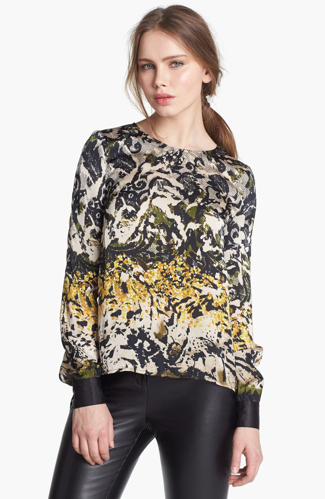Alternate Image 1 Selected - Vince Camuto Split Back Print Blouse