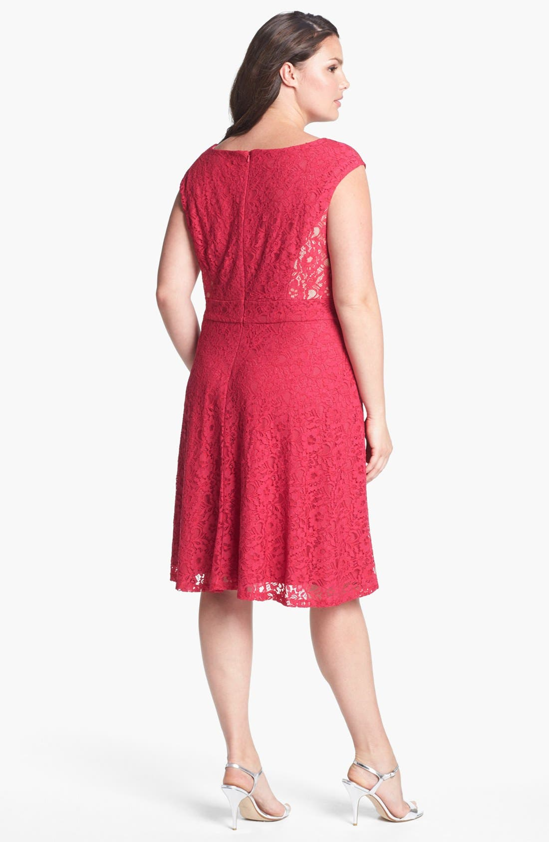 Alternate Image 2  - Donna Ricco Lace Fit & Flare Dress (Plus Size)