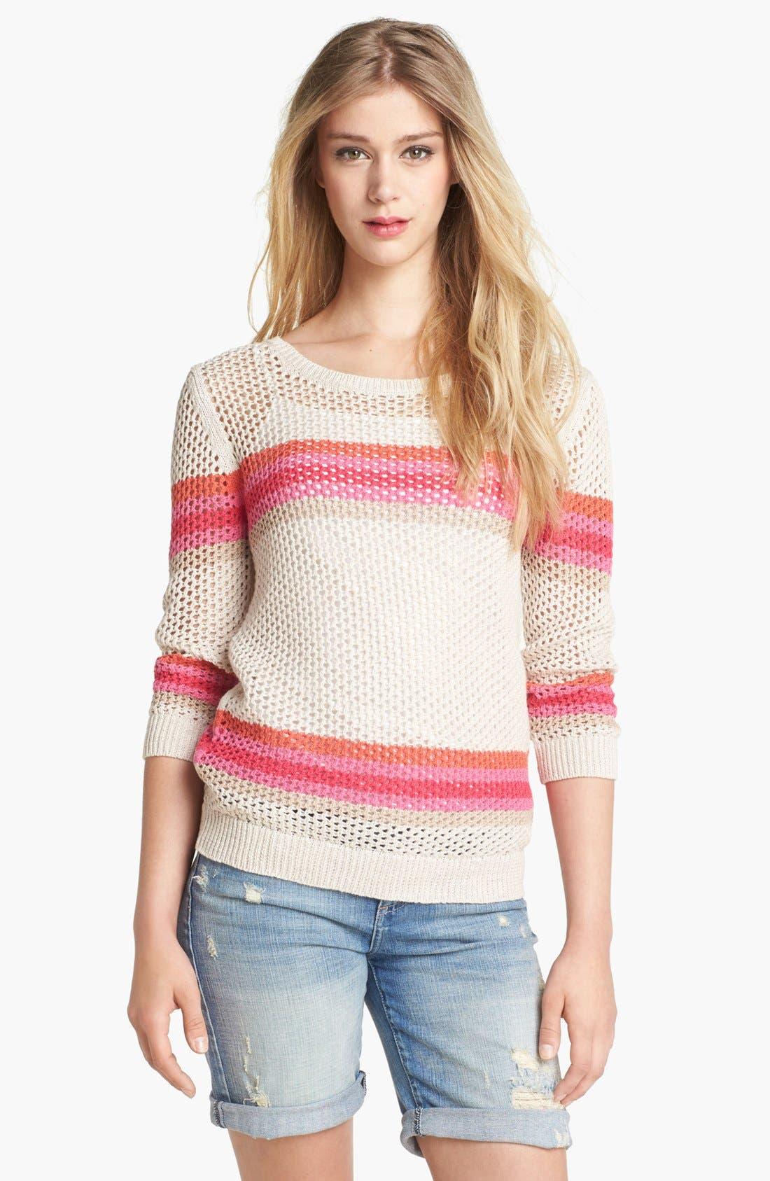 Alternate Image 1 Selected - Halogen® Stripe Open Weave Sweater