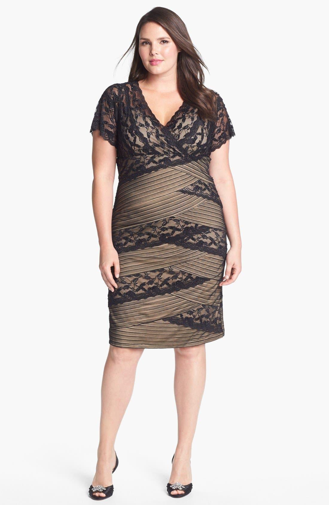Main Image - MARINA Mixed Lace Sheath Dress (Plus Size)