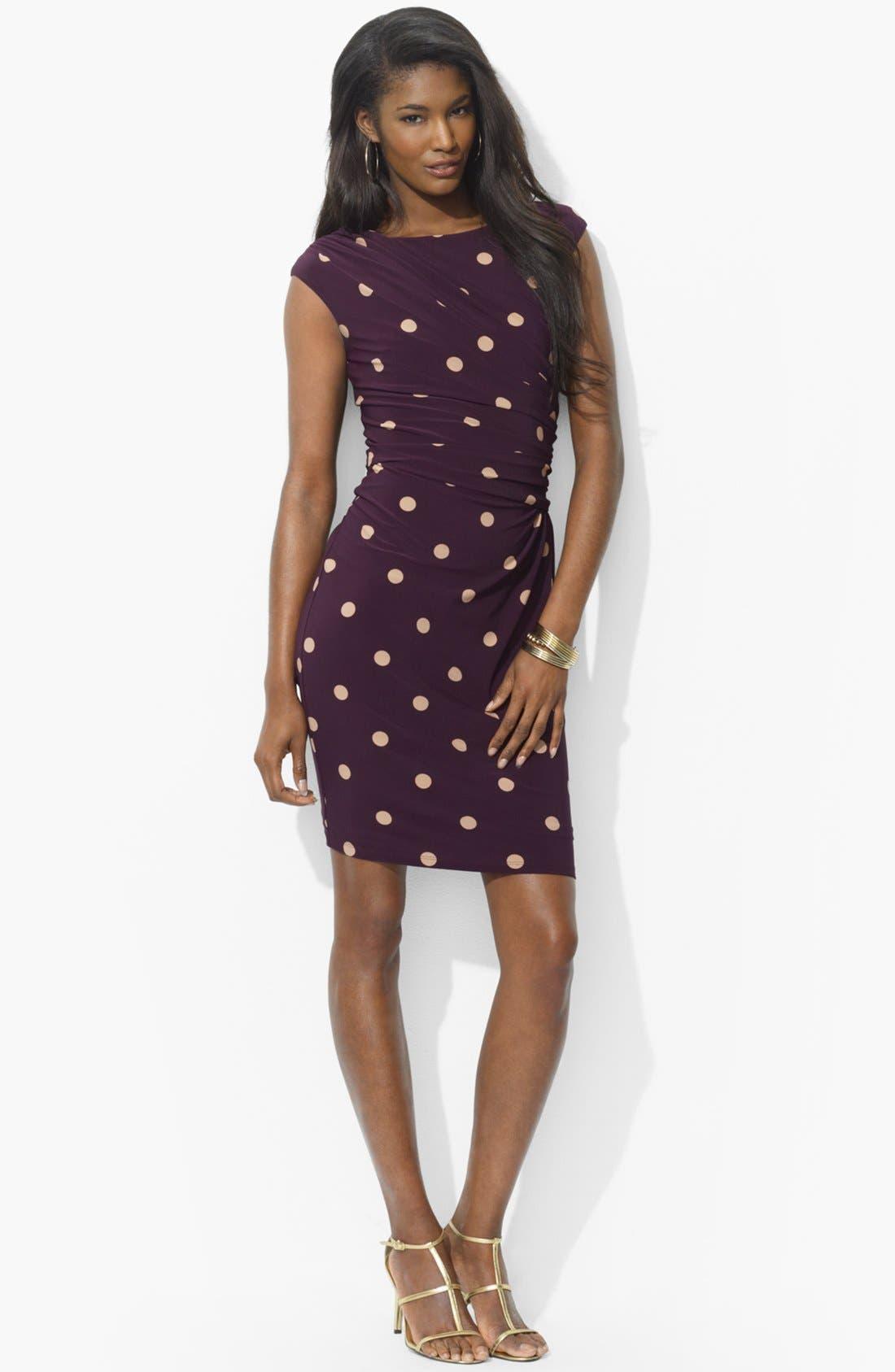 Main Image - Lauren Ralph Lauren Polka Dot Jersey Dress