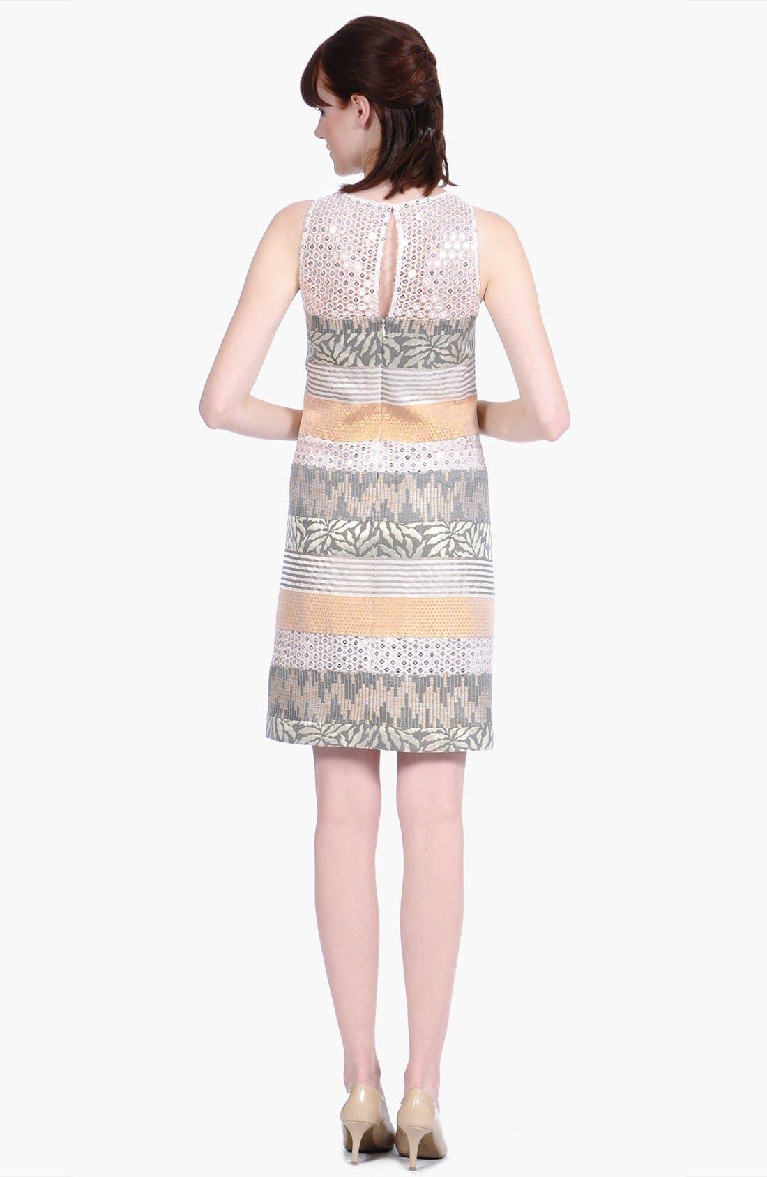 Alternate Image 2  - Kay Unger Metallic Jacquard & Lace Sheath Dress