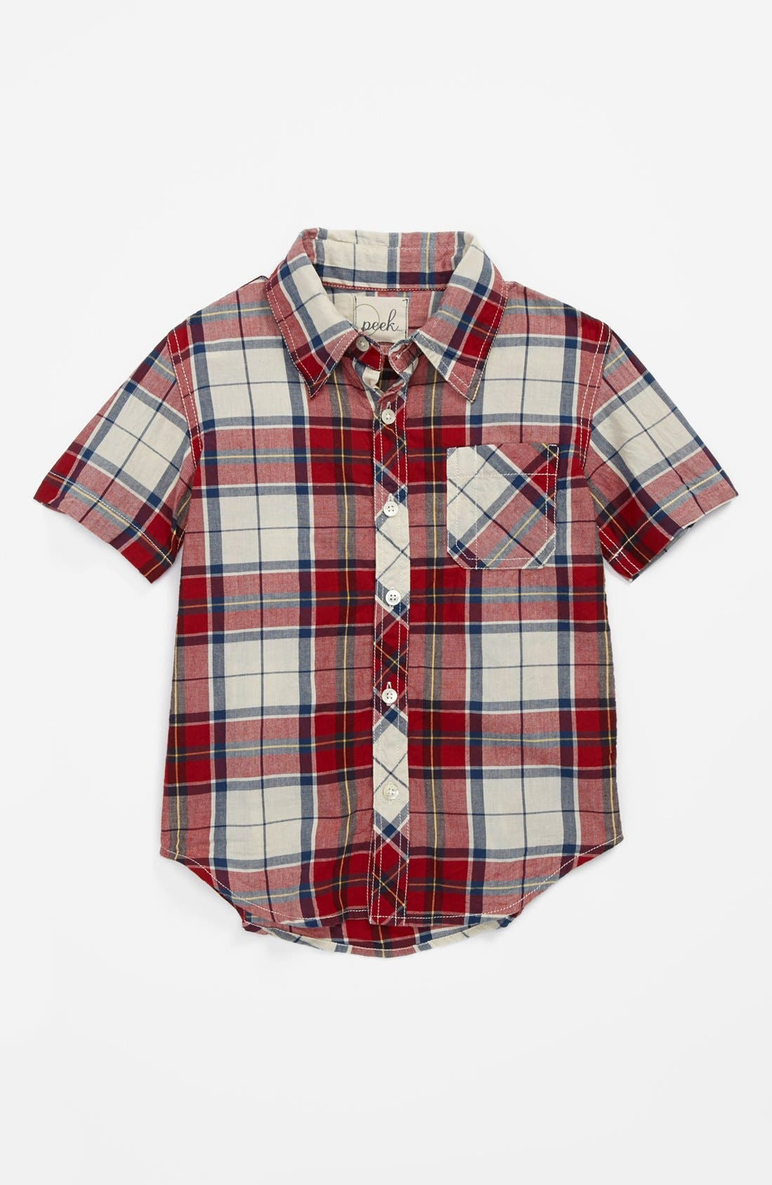 Alternate Image 1 Selected - Peek 'Baxter Plaid' Short Sleeve Sport Shirt (Toddler Boys, Little Boys & Big Boys)