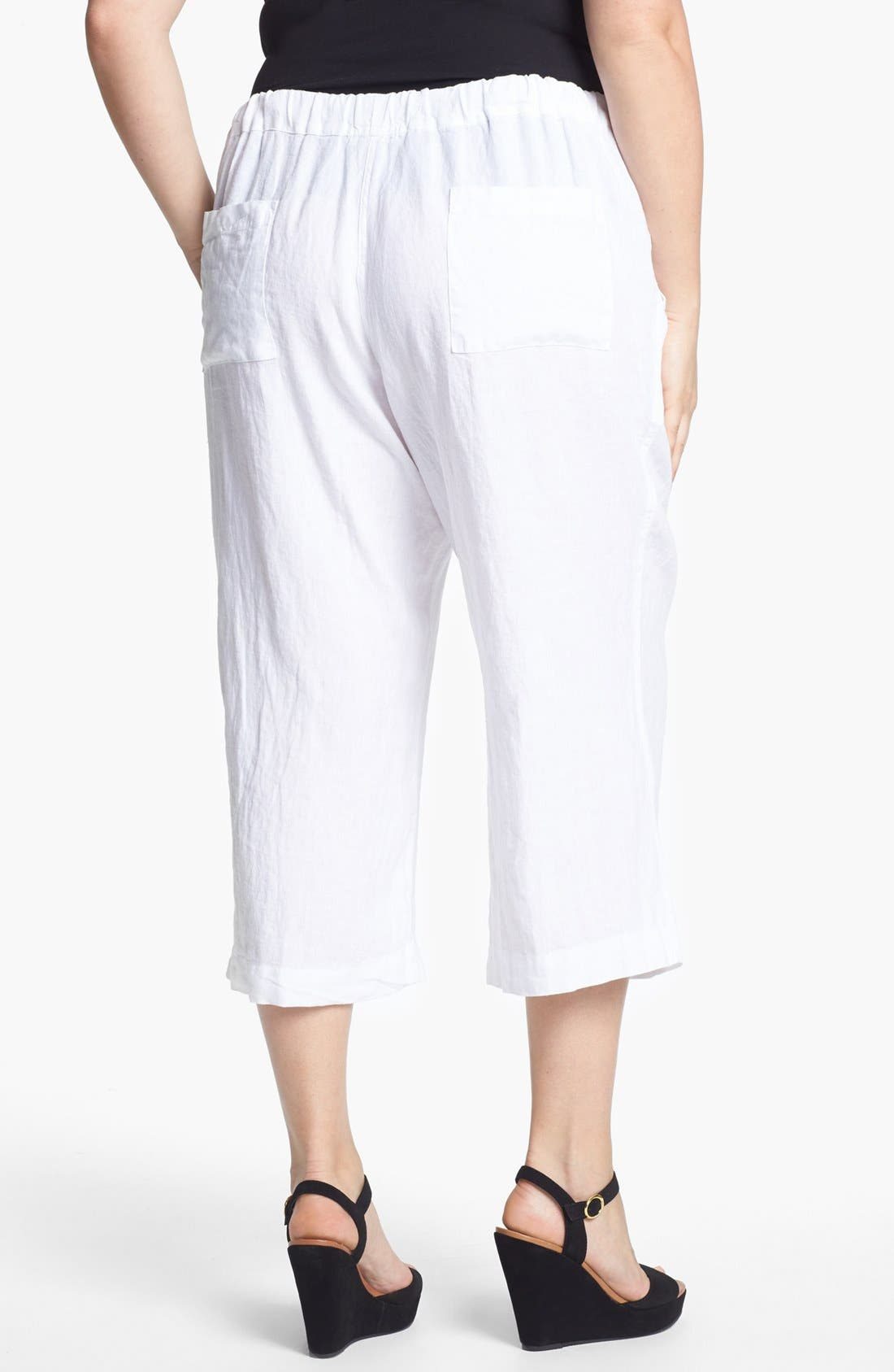 Alternate Image 2  - Allen Allen Crop Linen Pants (Plus Size)