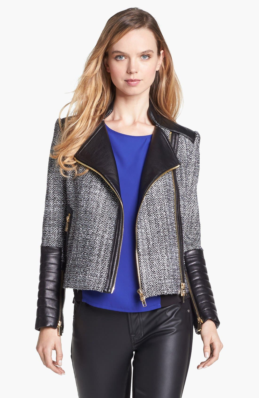 Main Image - Vince Camuto Tweed & Faux Leather Moto Jacket