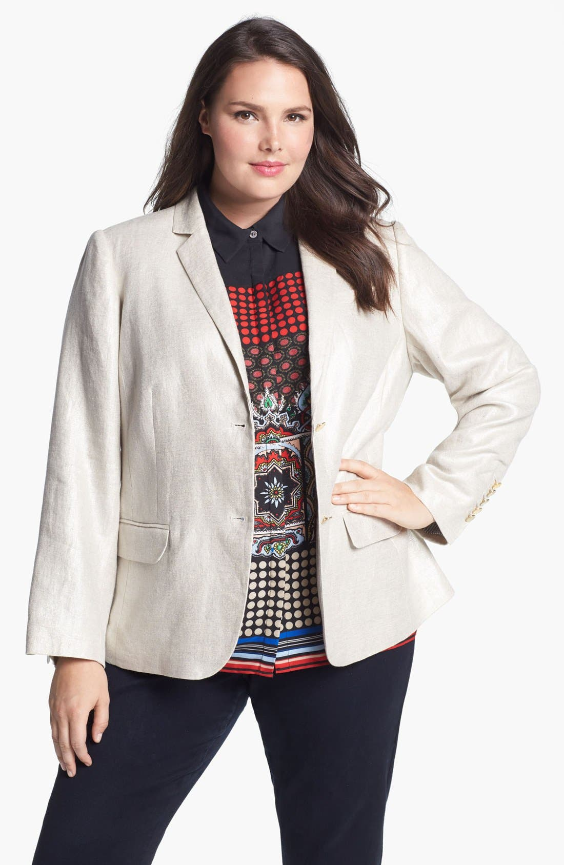 Alternate Image 1 Selected - Vince Camuto Linen Blazer (Plus Size)