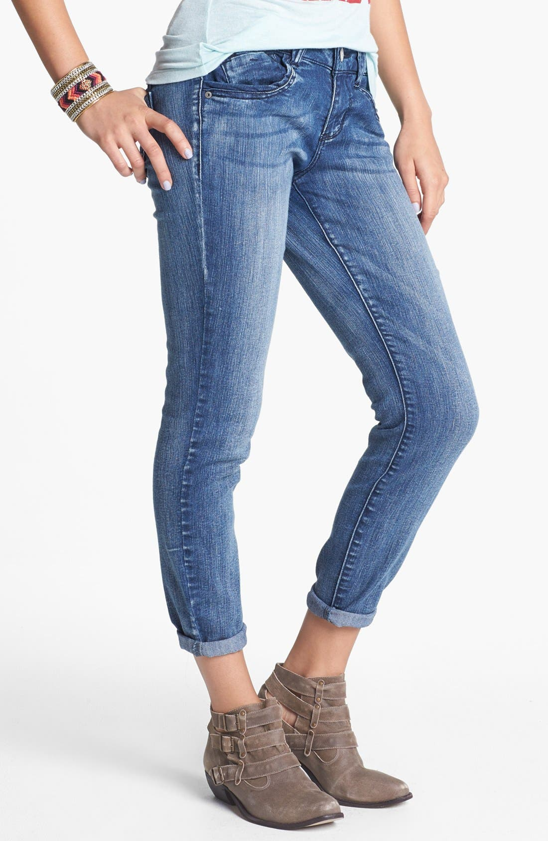 Alternate Image 2  - Jolt Skinny Jeans (Indigo) (Juniors) (Online Only)