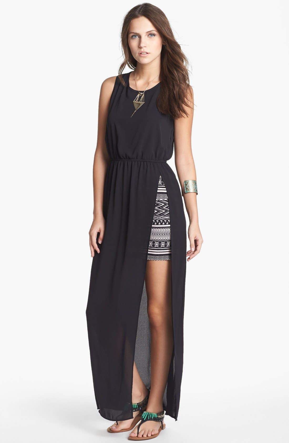 Main Image - dee elle Side Slit Maxi Dress with Skirt (Juniors) (Online Only)