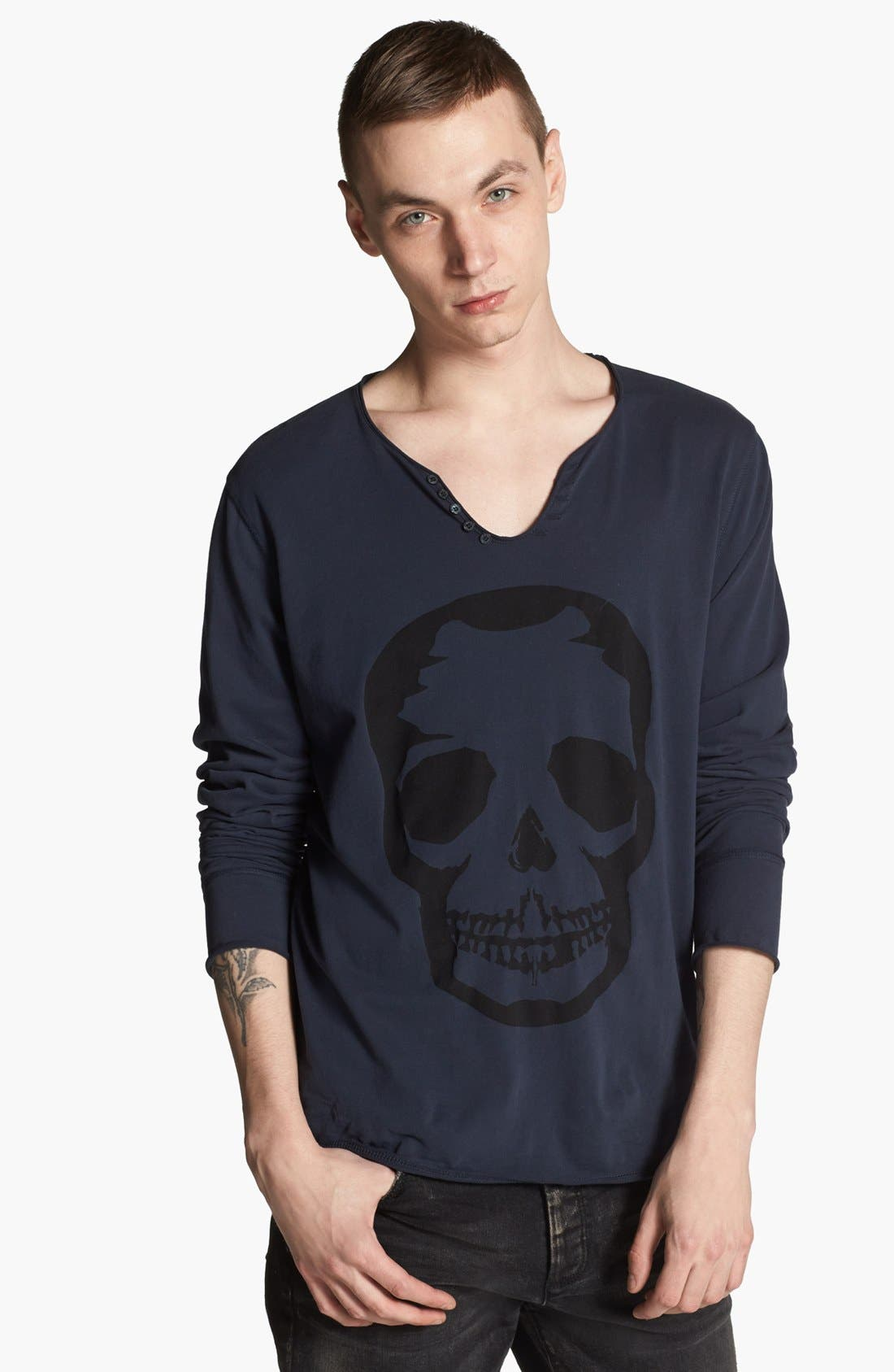 Main Image - Zadig & Voltaire Notch Neck Graphic Henley