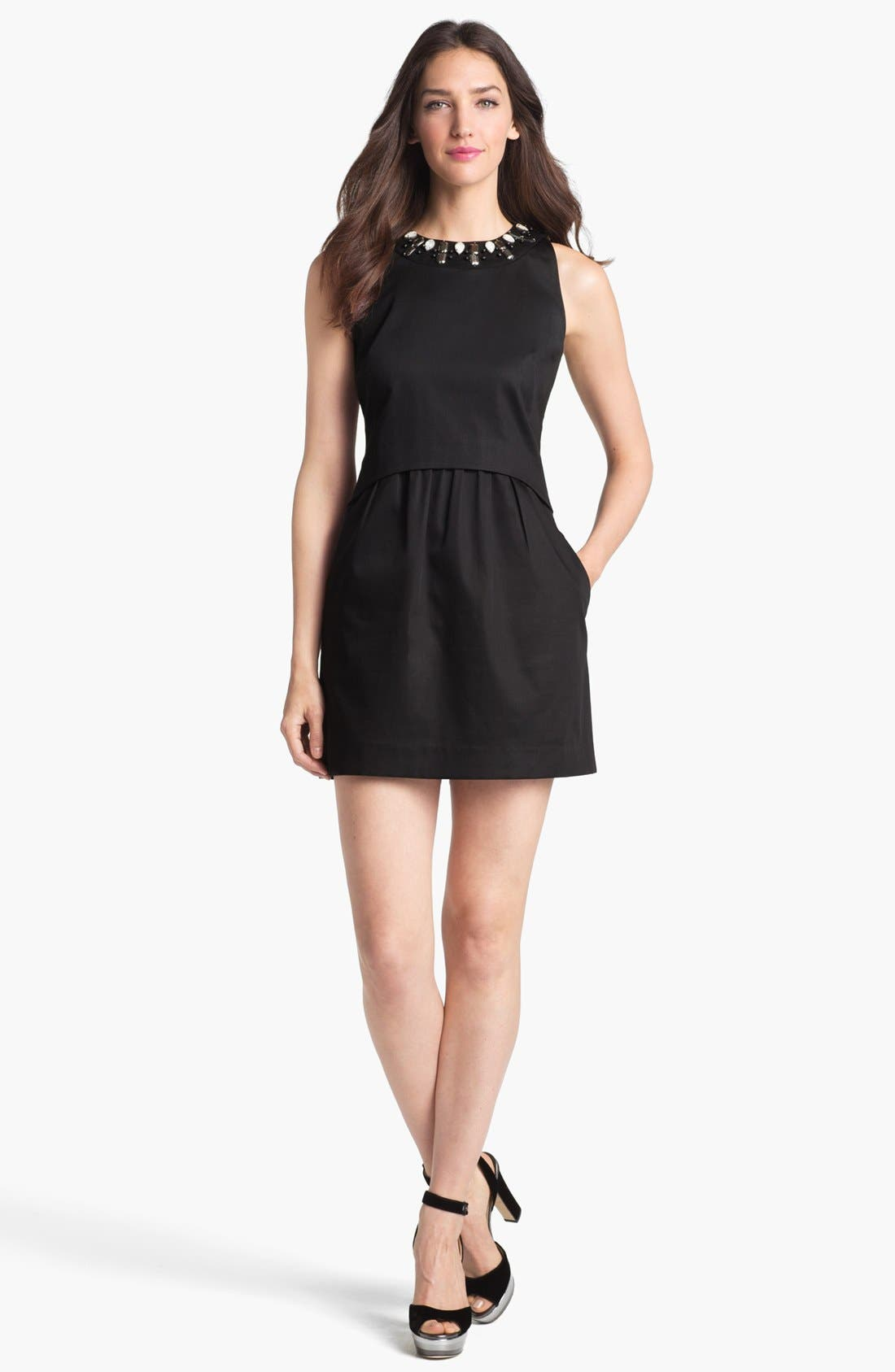 Alternate Image 1 Selected - Milly 'Astrid' Embellished Stretch Cotton Sheath Dress