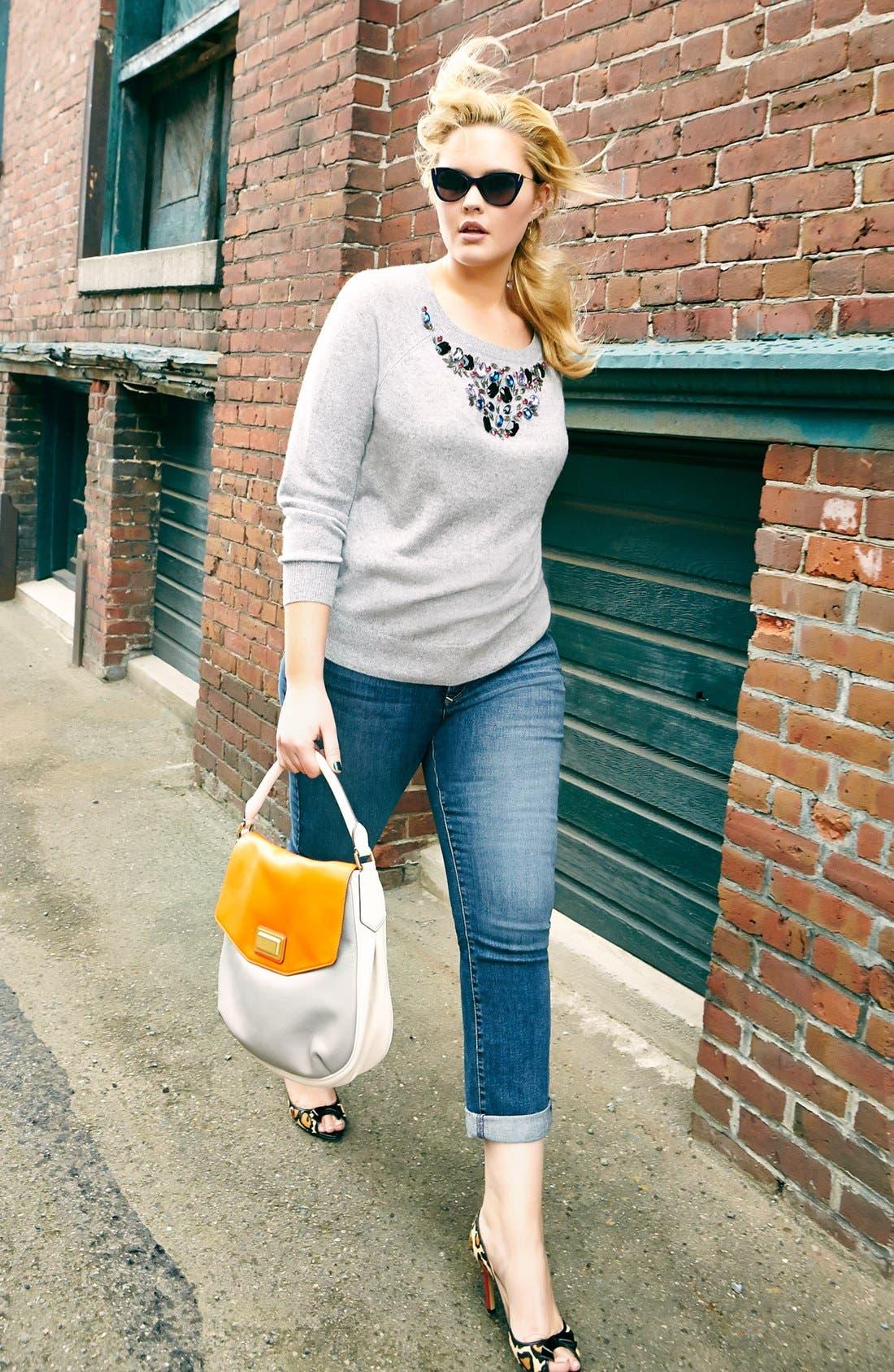 Alternate Image 4  - Halogen® Embellished Cashmere Sweater (Plus Size)