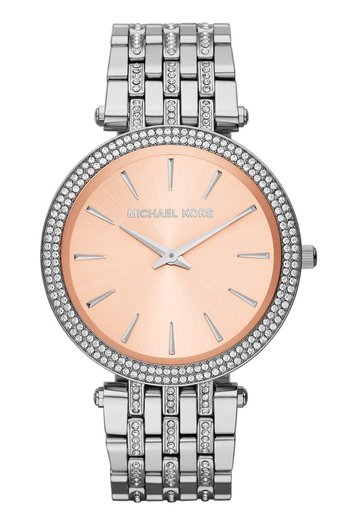 Main Image - Michael Kors 'Darci' Crystal Bezel Bracelet Watch, 39mm