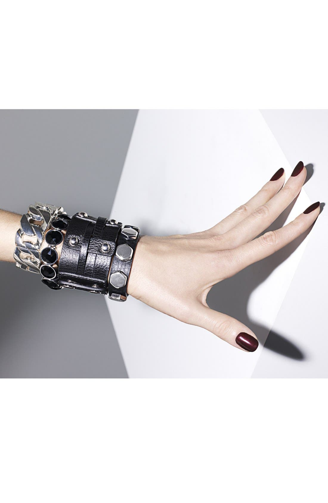 Alternate Image 3  - Cara Wide Woven Leather Bracelet