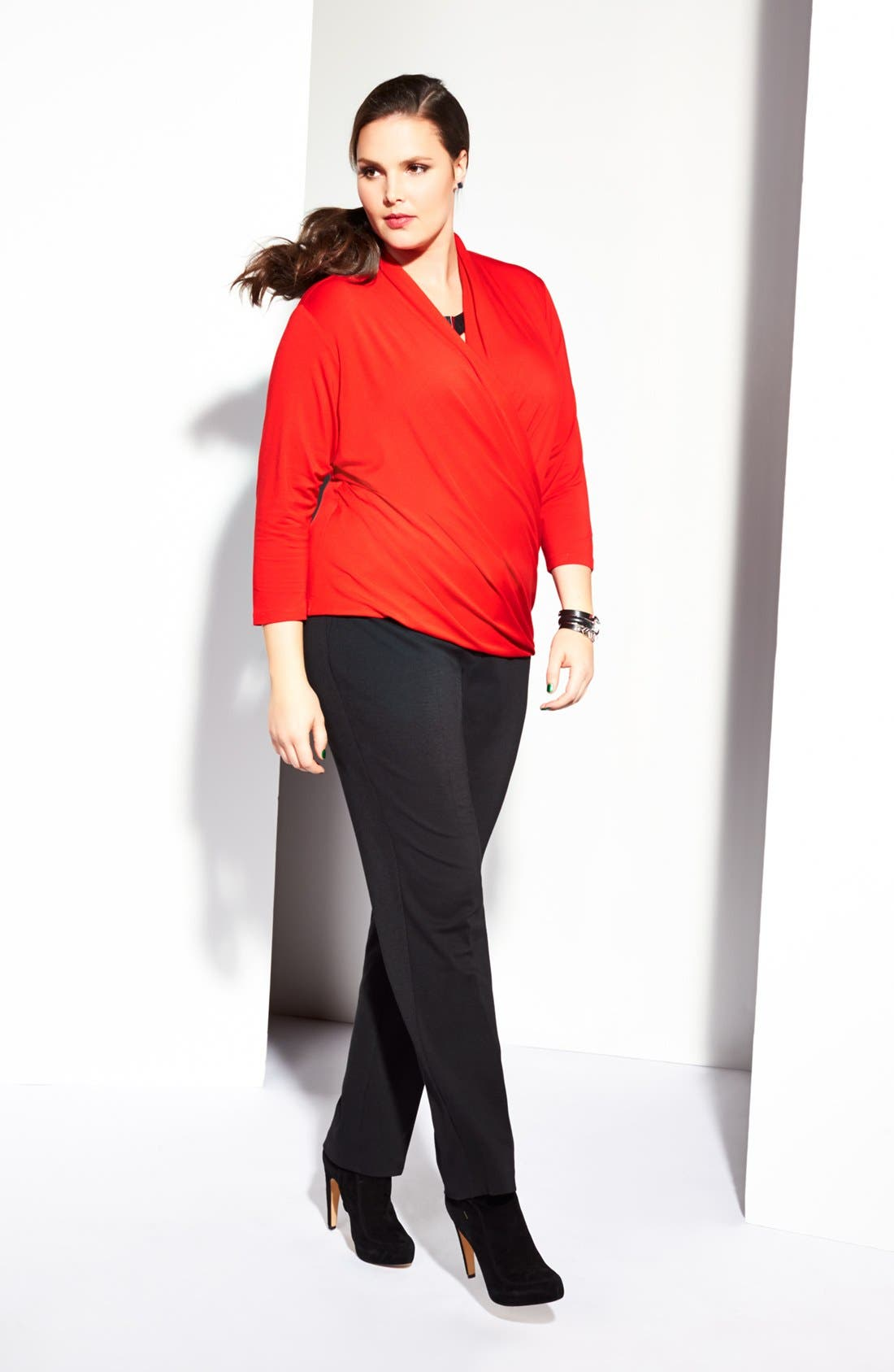 Alternate Image 2  - Vince Camuto Wrap Top, Military Jacket & Trouser Pants