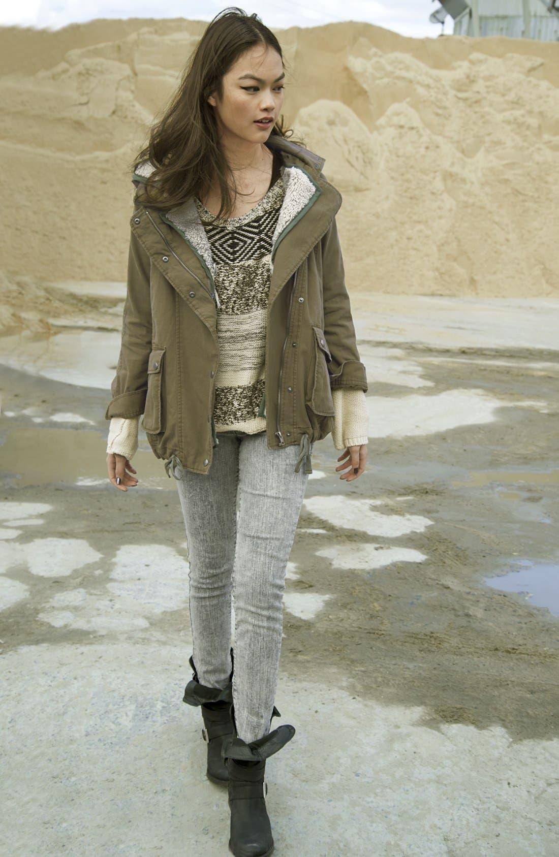 Alternate Image 4  - Jolt Acid Wash Skinny Jeans (Grey) (Juniors)