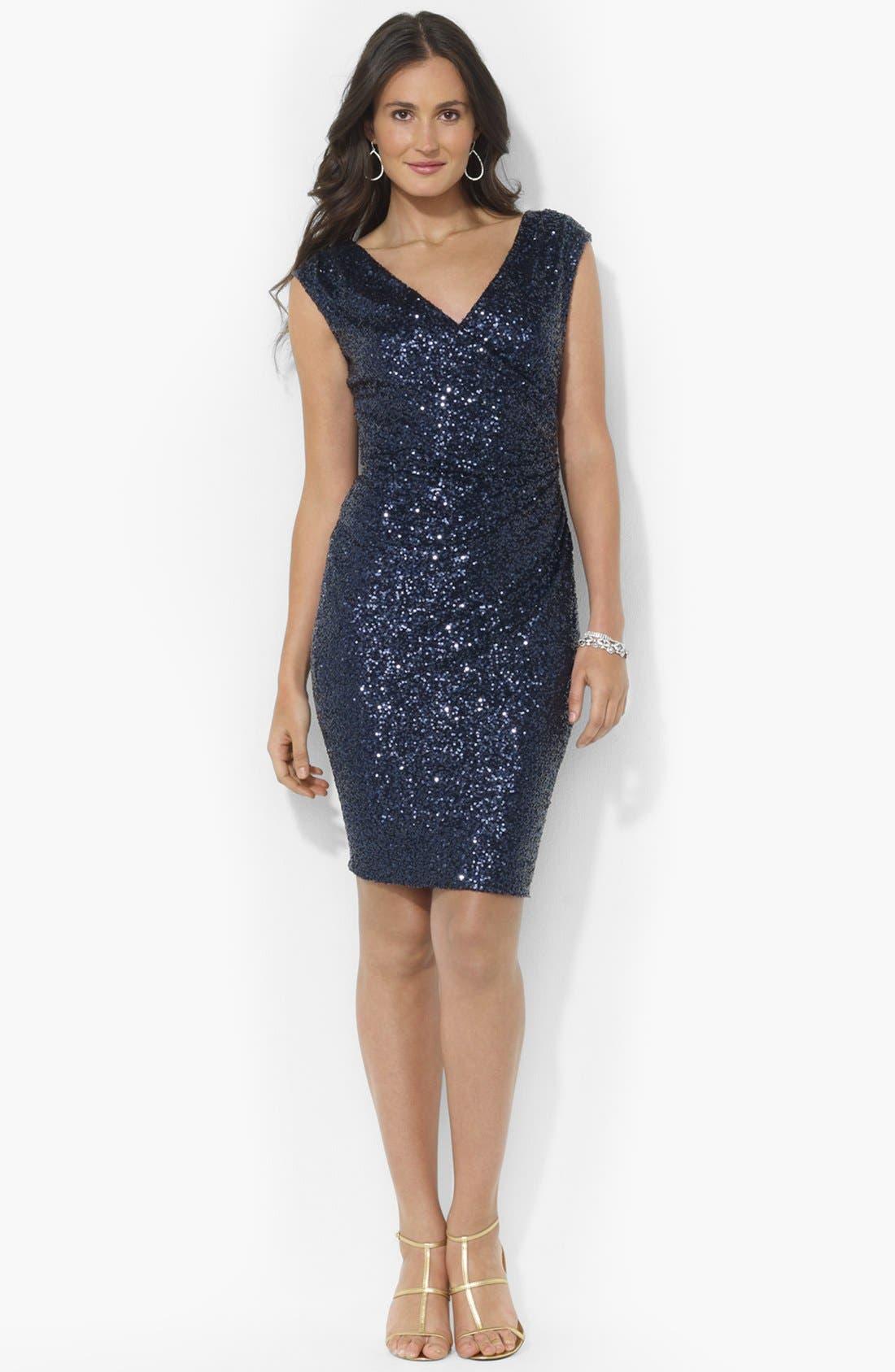Alternate Image 1 Selected - Lauren Ralph Lauren Sequin Sheath Dress (Petite)