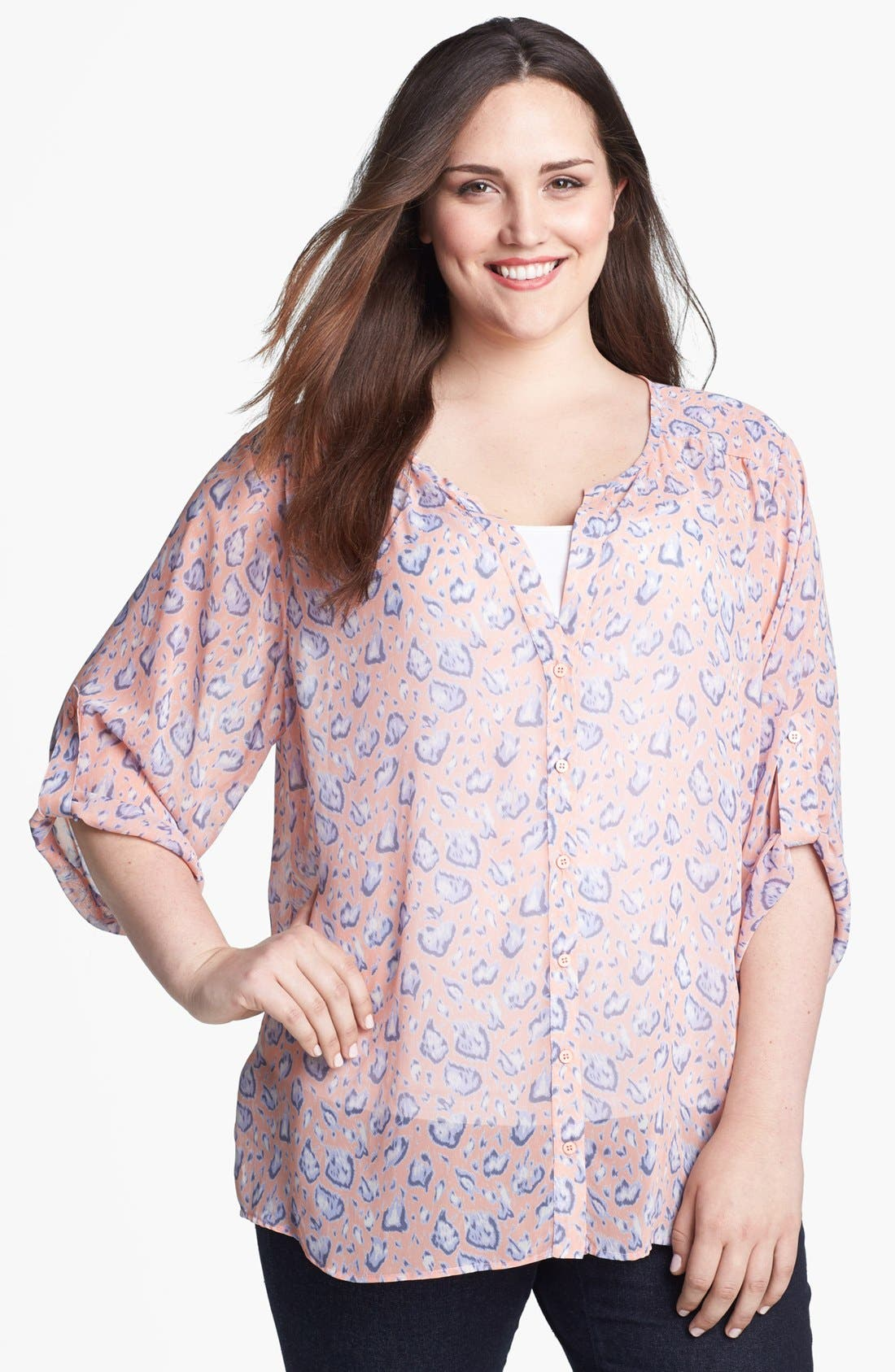 Alternate Image 1 Selected - Collective Concepts Print Chiffon Blouse (Plus)