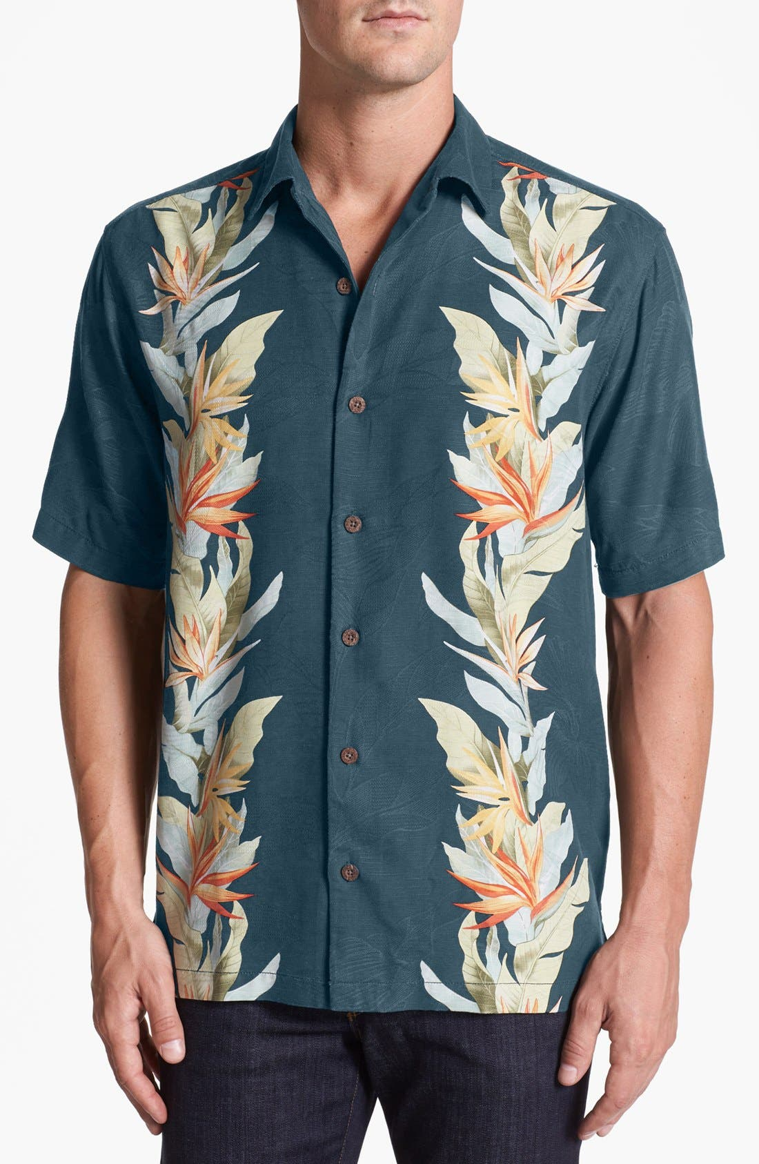 Alternate Image 1 Selected - Tommy Bahama 'Tropic of Parallel' Campshirt (Big & Tall)