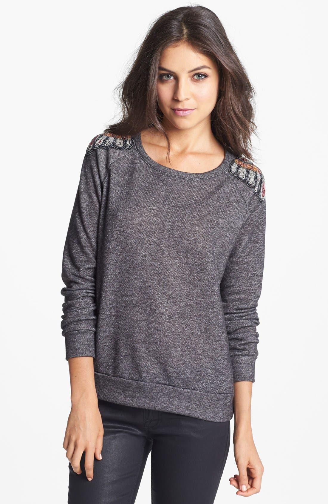 Alternate Image 1 Selected - Chloe K Beaded Shoulder Sweatshirt (Juniors)
