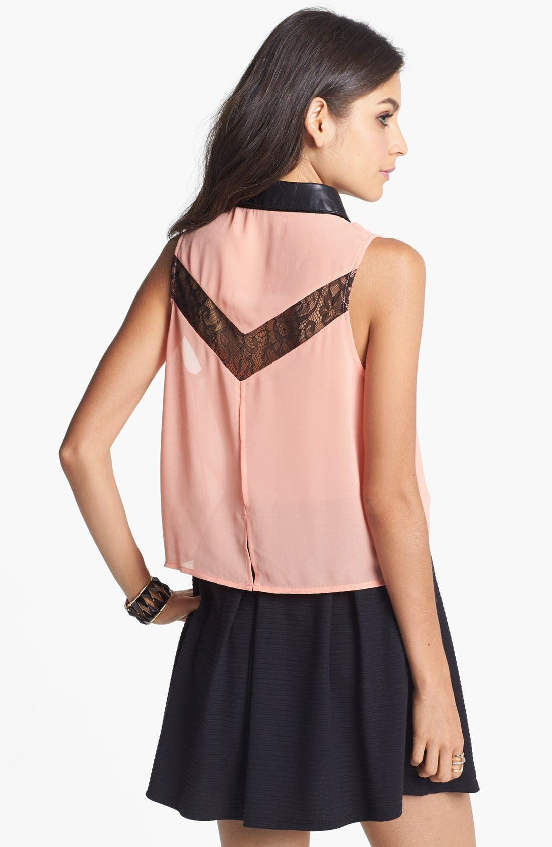 Alternate Image 2  - Lush Lace Inset Shirt (Juniors)