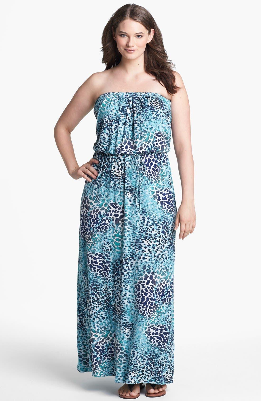 Main Image - Loveappella Print Blouson Maxi Dress (Plus Size)