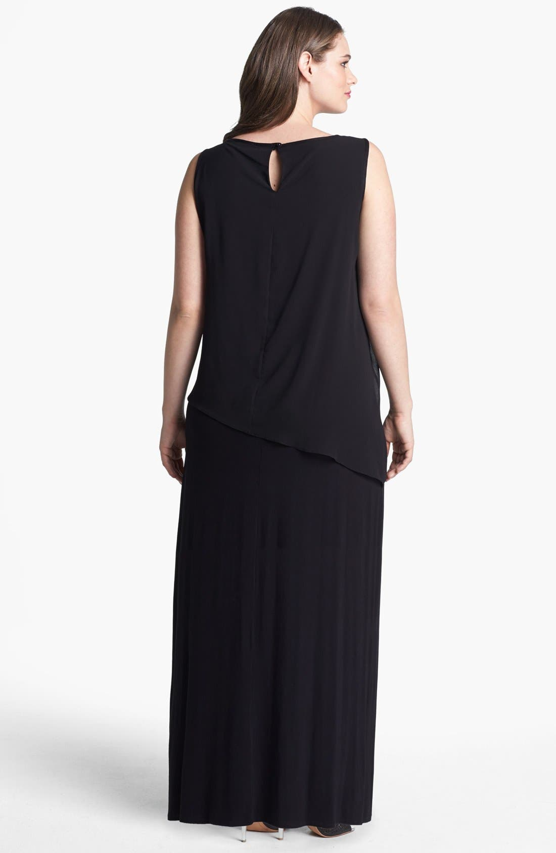 Alternate Image 2  - Evans Overlay Bodice Maxi Dress (Plus Size)