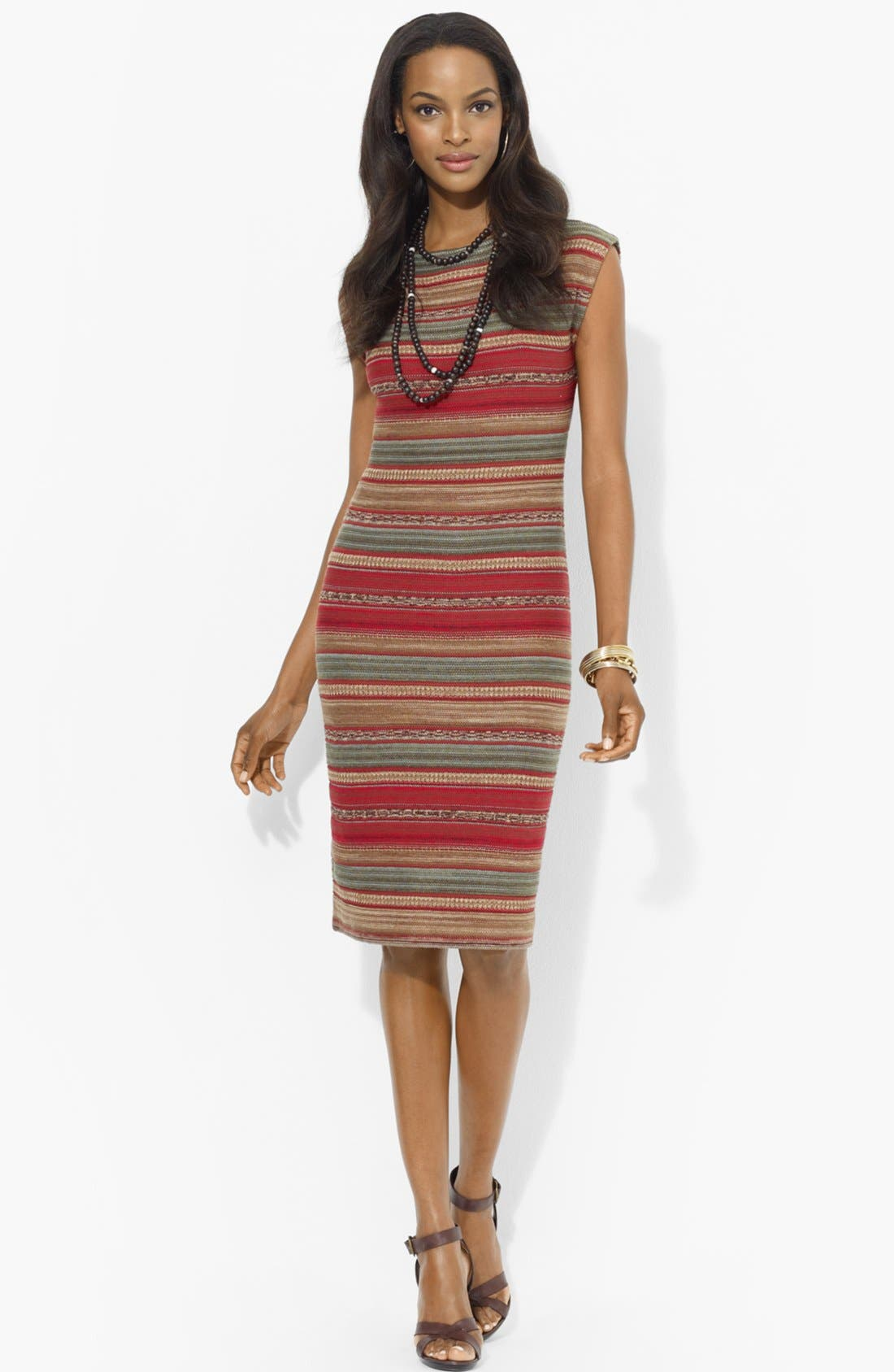 Main Image - Lauren Ralph Lauren Bateau Neck Stripe Dress