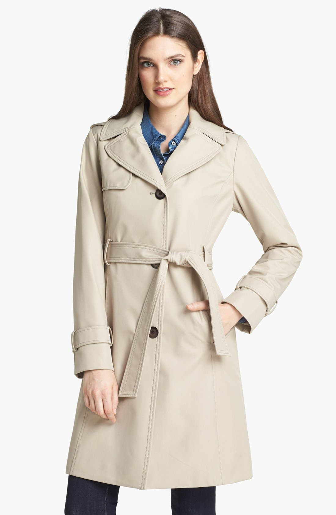 Main Image - Collection Ellen Tracy Trench Coat with Detachable Hood (Nordstrom Exclusive)