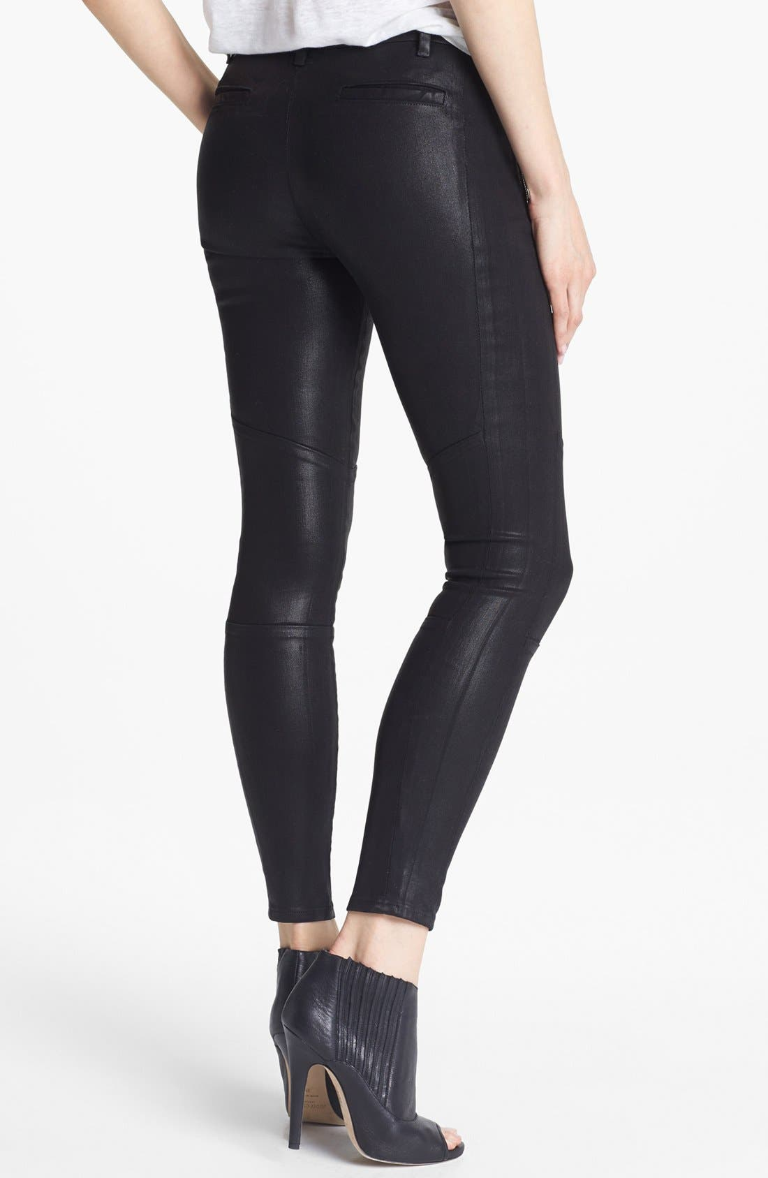 Alternate Image 2  - J Brand '8046 Tabitha' Mid Rise Coated Skinny Jeans (Lacquered Black Quartz)