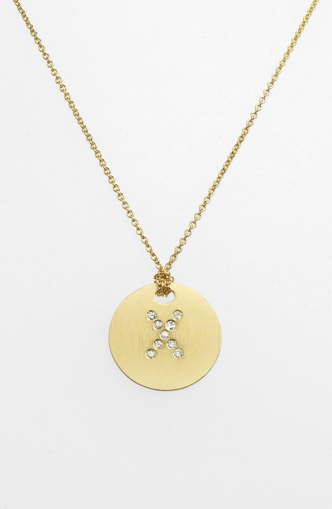 Roberto Coin 'Tiny Treasures' Diamond Initial Disc Pendant Necklace