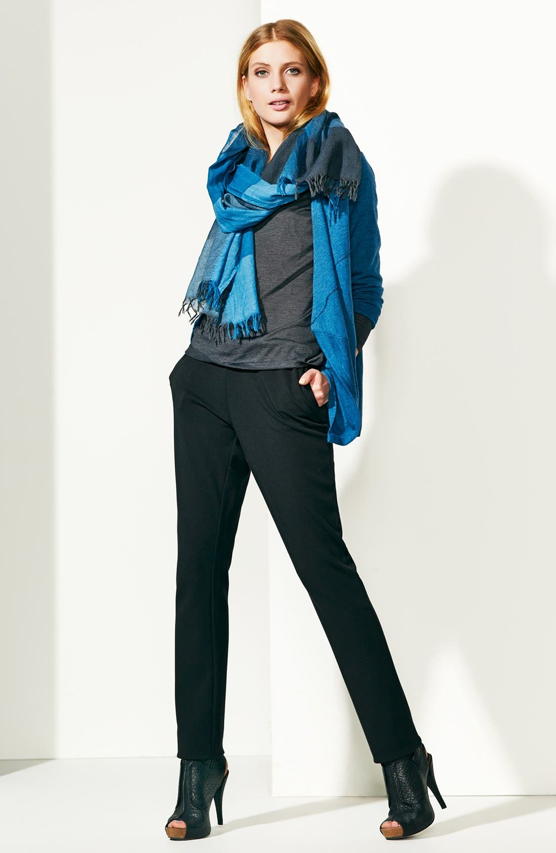 Alternate Image 2  - Eileen Fisher Maxi Check Wool Scarf
