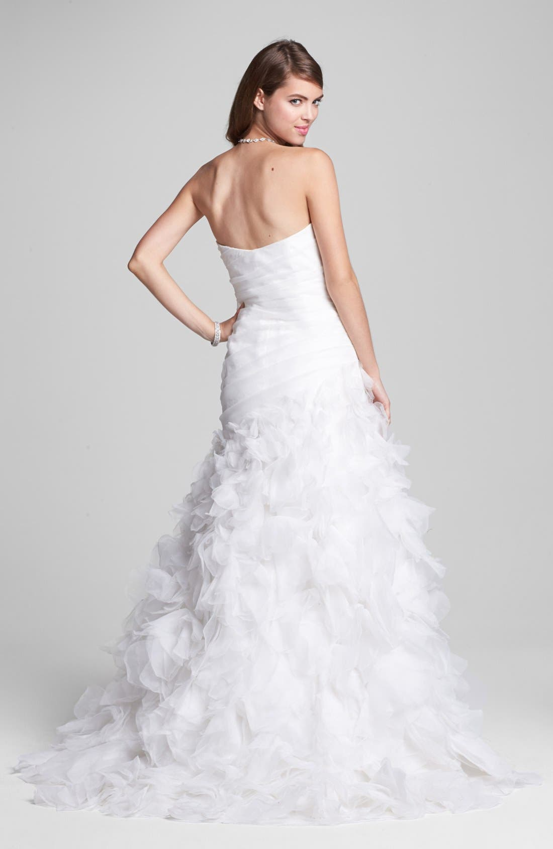 Alternate Image 2  - BLISS Monique Lhuillier Ruffled Organza Mermaid Dress (In Stores Only)