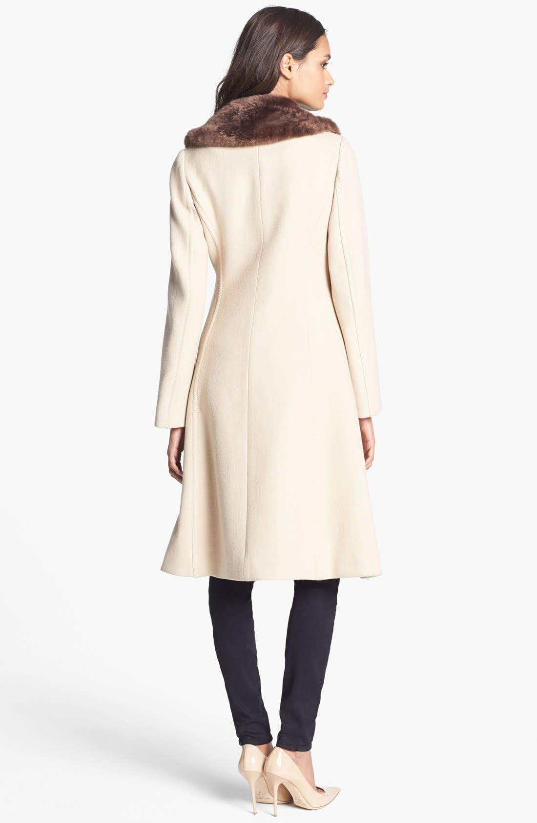 Alternate Image 2  - kate spade new york 'briella' faux fur collar coat