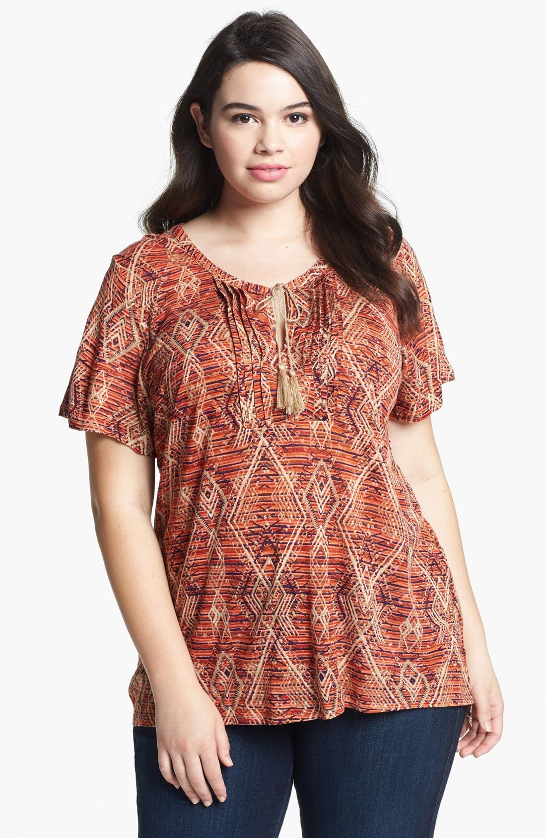 Alternate Image 1 Selected - Lucky Brand 'Aztec' Print Top (Plus)