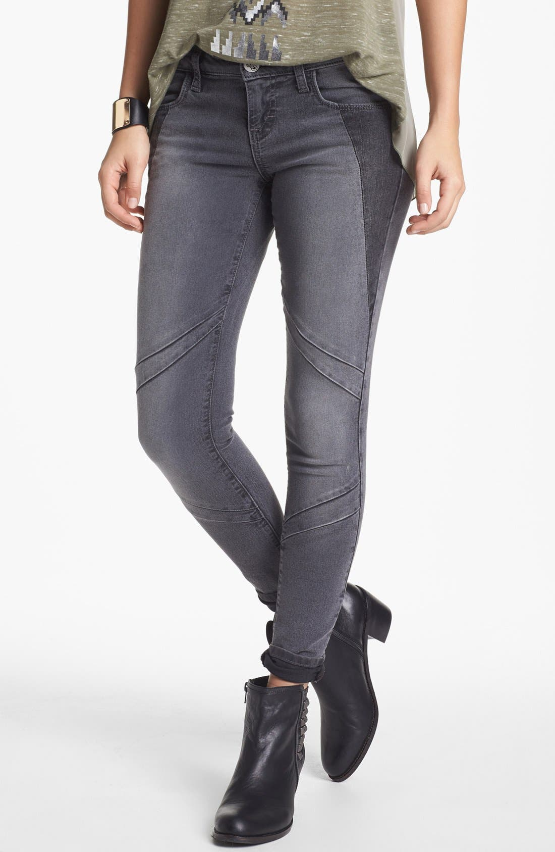 Alternate Image 1 Selected - STS Blue Moto Skinny Jeans (Grey) (Juniors)