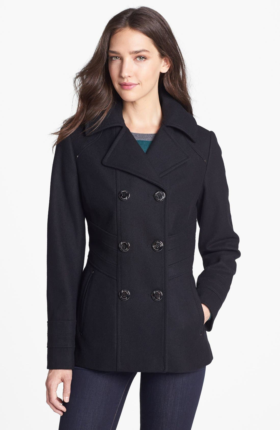 Main Image - Kenneth Cole New York Paneled Waist Peacoat (Regular & Petite)