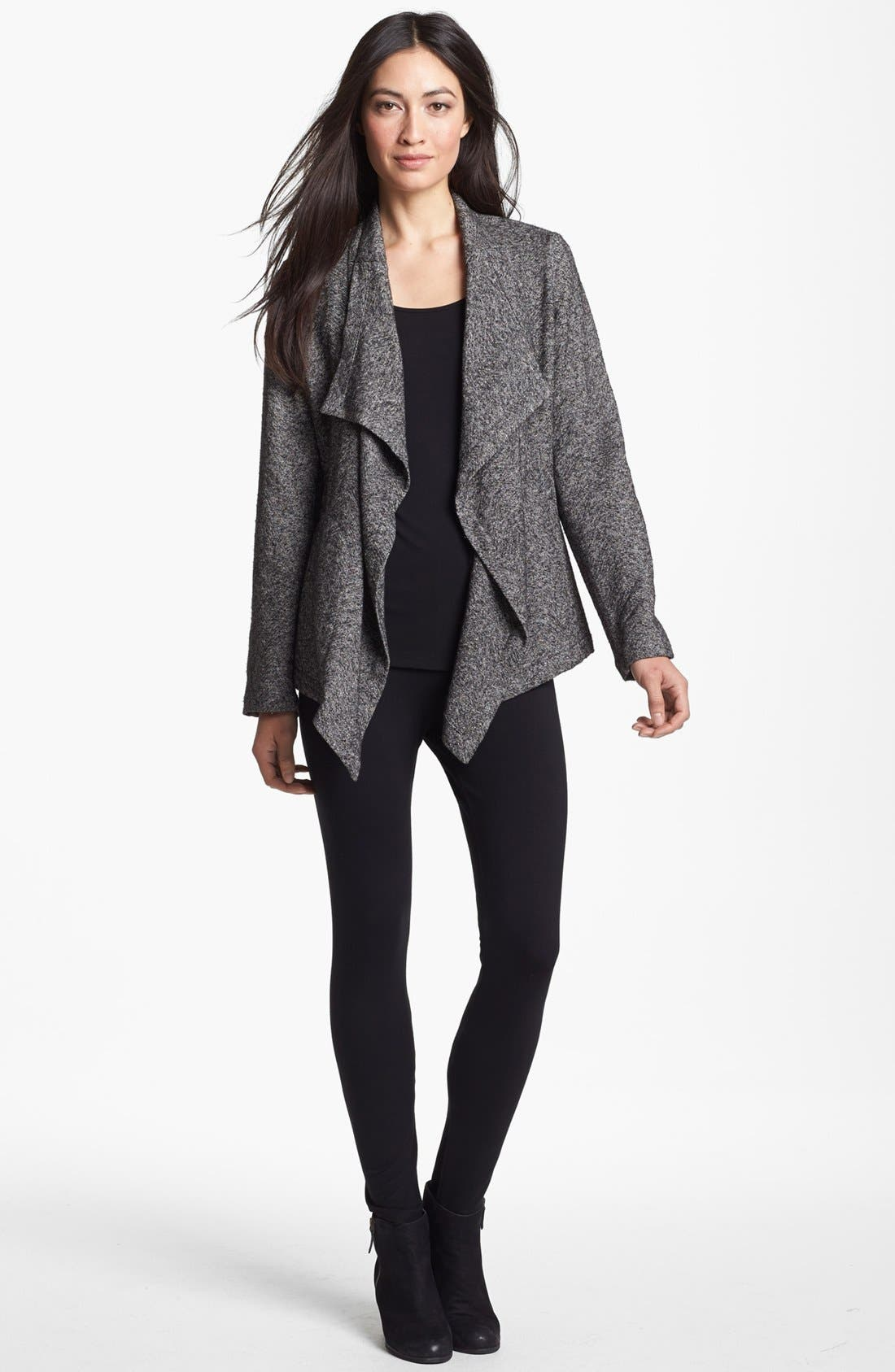 Alternate Image 3  - Eileen Fisher Drape Front Herringbone Tweed Jacket