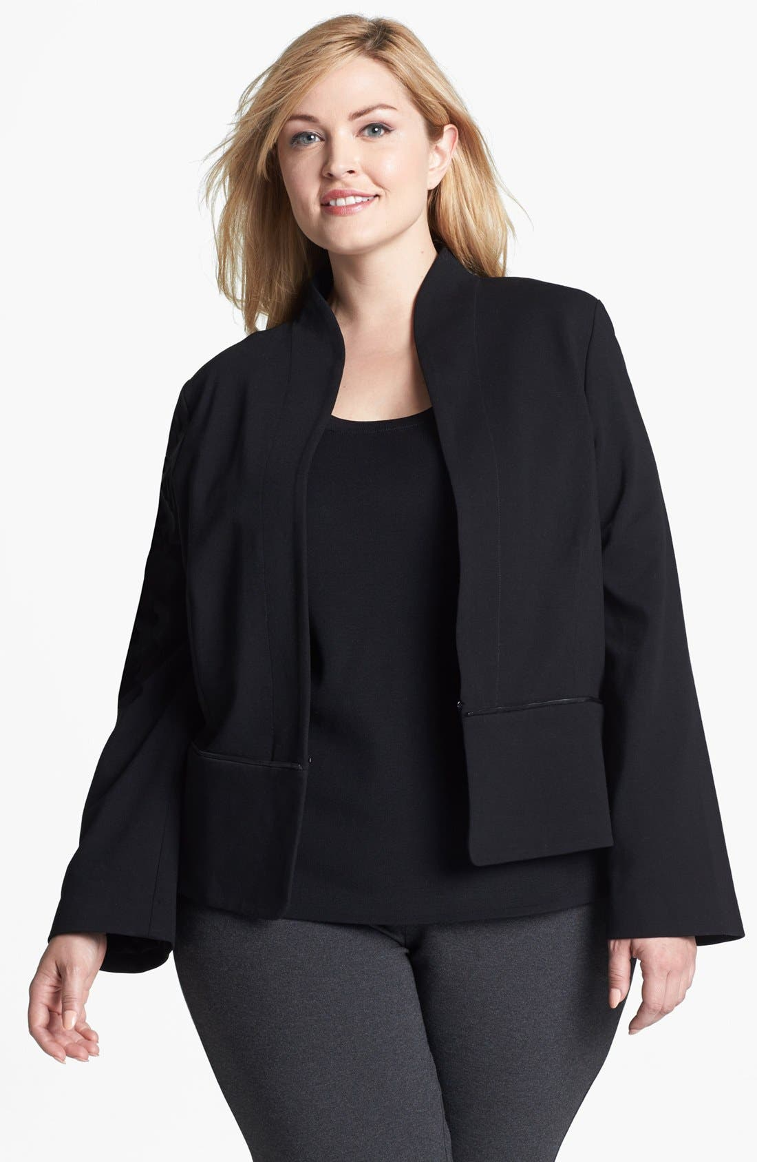 Alternate Image 1 Selected - Eileen Fisher Ponte Knit Jacket (Plus Size)